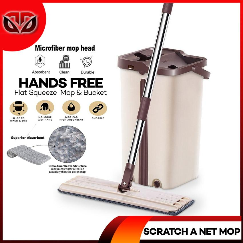 D&D Self-Wash Squeeze Dry Flat Mop With Bucket Scratch A Net Stainless  Steel Automatic Floor Hands Free Wash Microfiber Lazy Mop