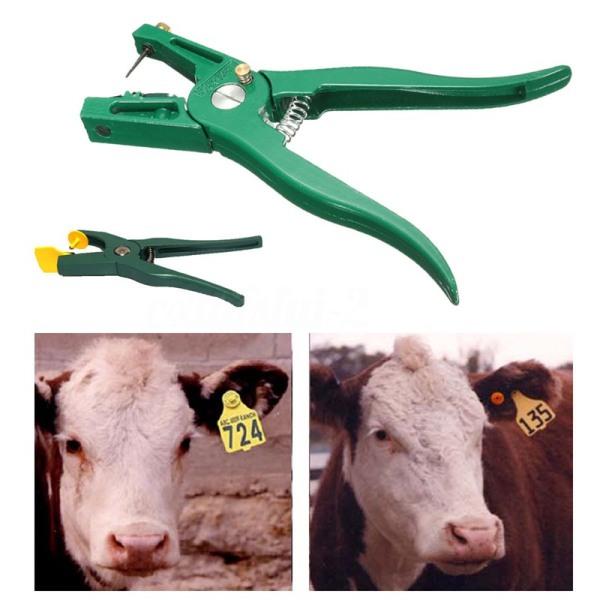 Animal Sheep Livestock Ear Tags Lables Marking Plier(100X yellow Ear Tag+1X Tag Plier)