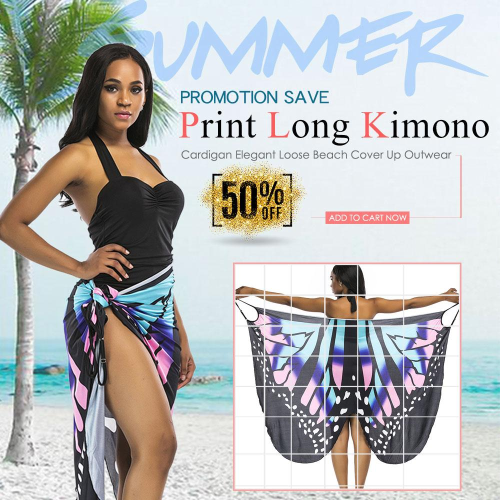 c41543c509 (Free Shipping Fee)Women Summer Print Long Kimono Cardigan Elegant Loose Beach  Cover Up