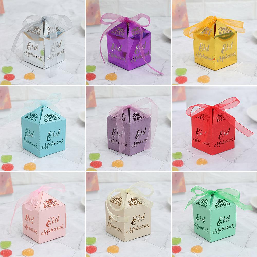 10/20/50pcs Gold Silver Laser Cut Ramadan Decoration DIY Paper Candy Box Gift Boxes Eid Mubarak Islamic Muslim