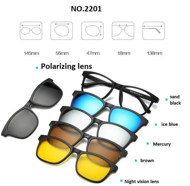 7bf2f6a33d 1 set Sunglasses Magnet Frame with 5 Polarized Lenses Unisex For Men Women  Clip On Myopic