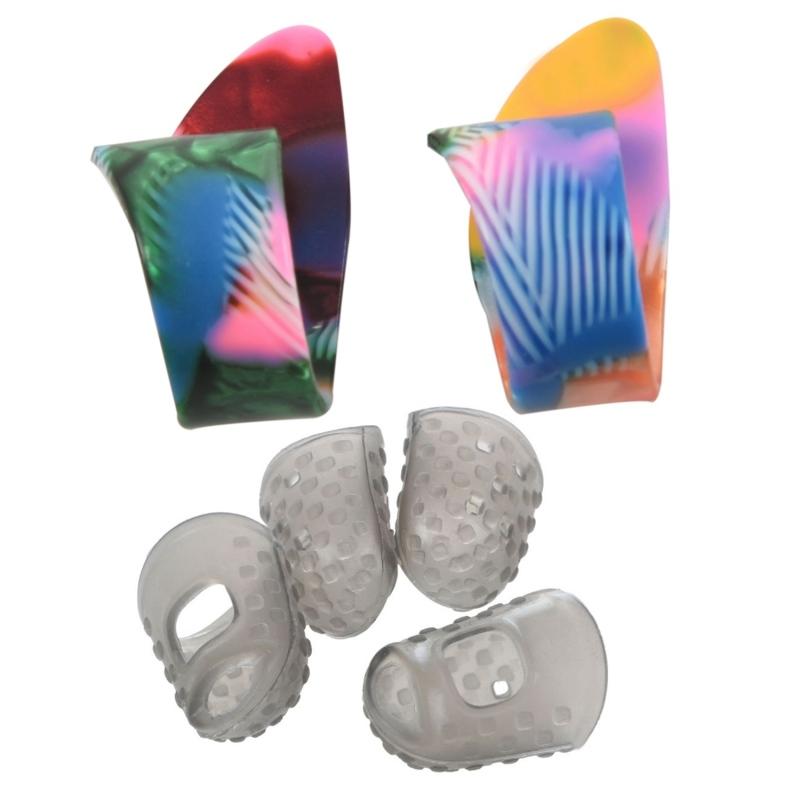 2 Pcs Finger Thumb Guitar Picks Plectrums Random Colors & 4Pcs Silicone Guitar Thumb Finger Picks Protector(Gray M) Malaysia