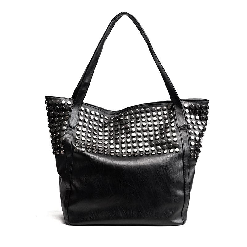 Big Bag For Women Summer Shopper Bag Tote Rivet Large Capacity Soft Leather Casual Black Handbag Ladies Sling Bag