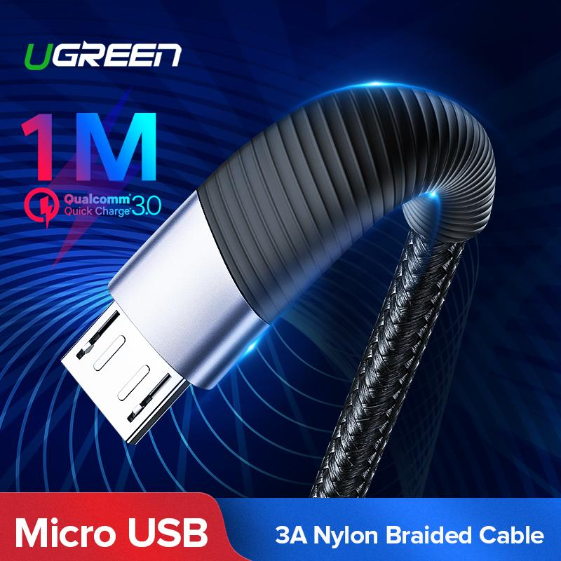 UGREEN Original 1Meter Or 2Meter Micro USB Cable Nylon Braided Fast Quick Charging To