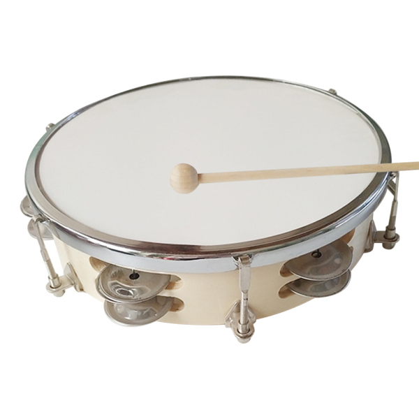 10 Inch Tambourine Handbell Hand Drum with Double Row Jingles Percussion Instrument for Children Adults Malaysia