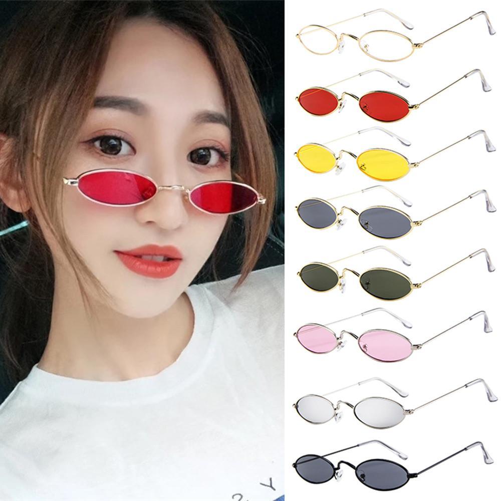 91c3aca56e4 Docesty Fashion Mens Womens Retro Small Oval Sunglasses Metal Frame Shades  Eyewear Free Shipping
