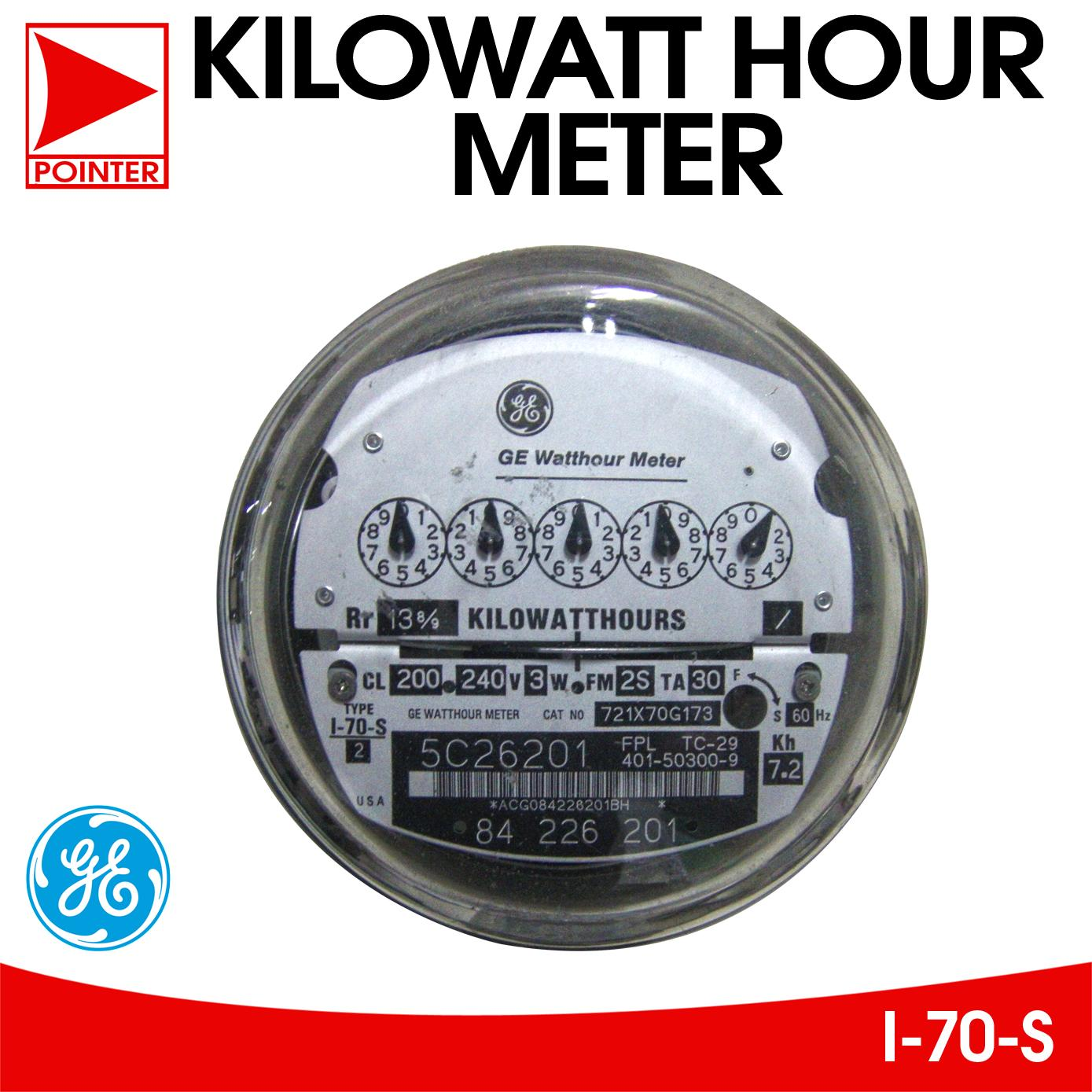 General Electric 3w, 30A, Electric Kilowatt Hour Meter