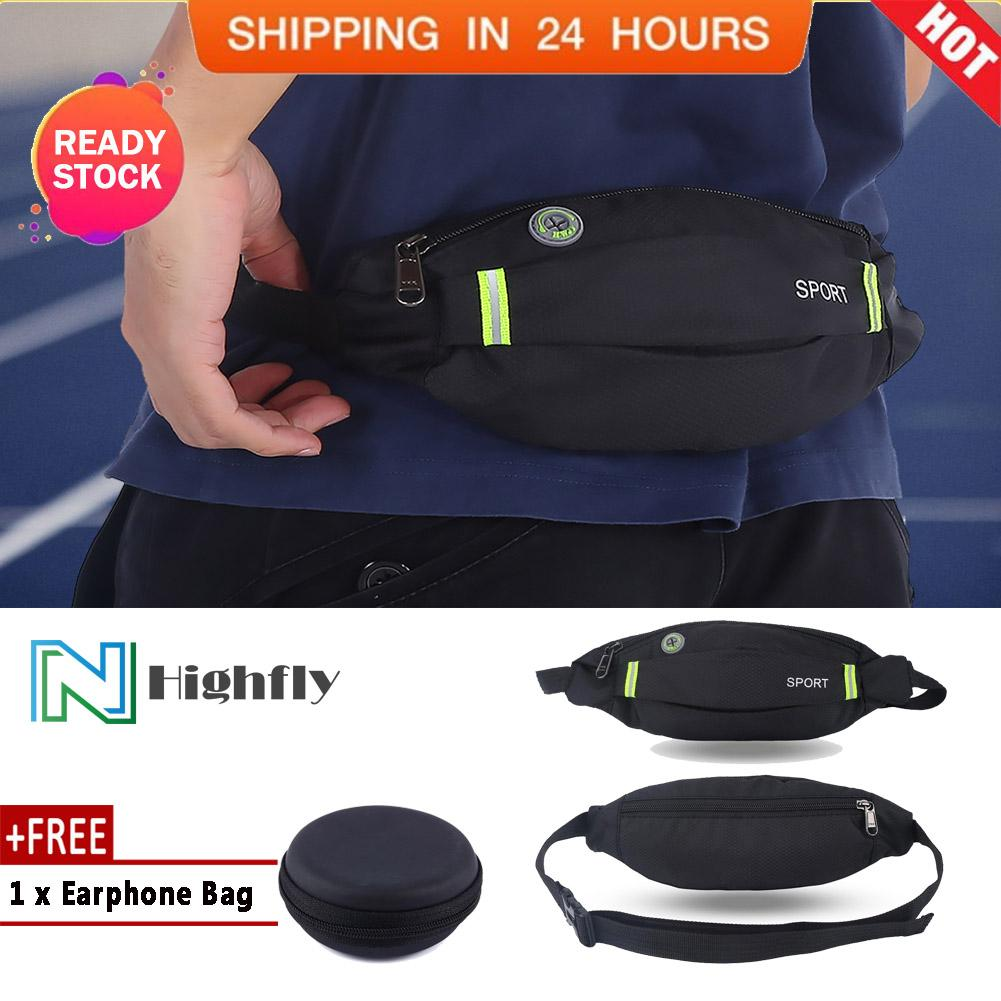 [free Gift] Men Women Outdoor Sport Running Cycling Gym Waist Belt Bag Nylon Pack (black) - Intl By Highfly.