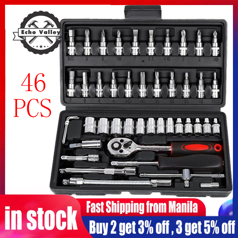 94PCS 1//4/'/'/&1//2/'/' Wrench Socket Screwdriver Tool Set Kit Ratchet Driver Tool