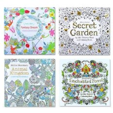 4 Pcs Secret Garden Coloring Graffiti Book For Children Adult Relieve Stress Kill Time Painting Drawing