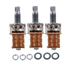 A500k Push Pull Guitar Potentiometers Set of 3 Silver