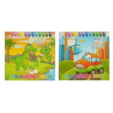 Colouring Book By Numbers Educational Childrens Coloring Set Of 2 Dinosaur Traffic