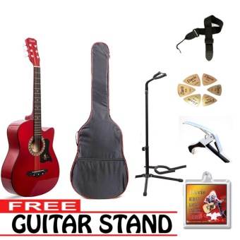 Davis Acoustic Guitar Starter Package (Red) with FREE Guitar Stand - picture 2