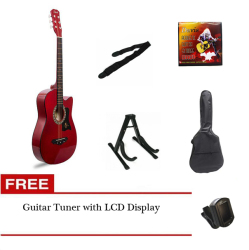 Davis Acoustic Guitar Starter Package (Red) with FREE Guitar Tuner