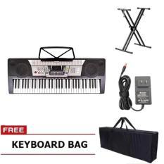Davis D-818 61-Keys Digital Electronic Keyboard Piano Organ w/ Heavy Duty  Double X Stand (Black)