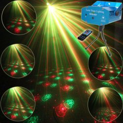 ESHINY R6 Mini R&G Remote Moving 6 Christmas Patterns Laser Projector Club Bar Coffee Shop Dance Disco Home Party Xmas DJ Stage lighting Effect Light Show + Tripod - intl