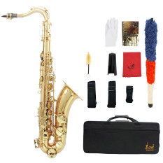 LADE Brass Bb Tenor Saxophone Sax Carved Pattern Pearl White Shell Buttons Wind Instrument (Intl