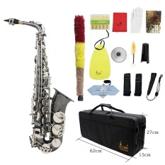 Professional Brass Bend Eb E-flat Alto Saxophone Sax Black Nickel Plating Abalone Shell Keys