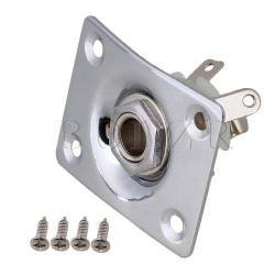 Square Guitar bass Output Jack Plate Chrome