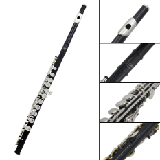 Western Concert Flute Cupronickel Plated Silver 16 Holes C Key Woodwind Instrument with Cleaning Cloth Stick