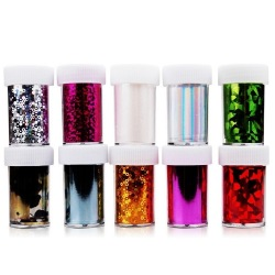 10 Random Color Nail Art Transfer Foil (1.6*47inch/4*120cm) (Intl)