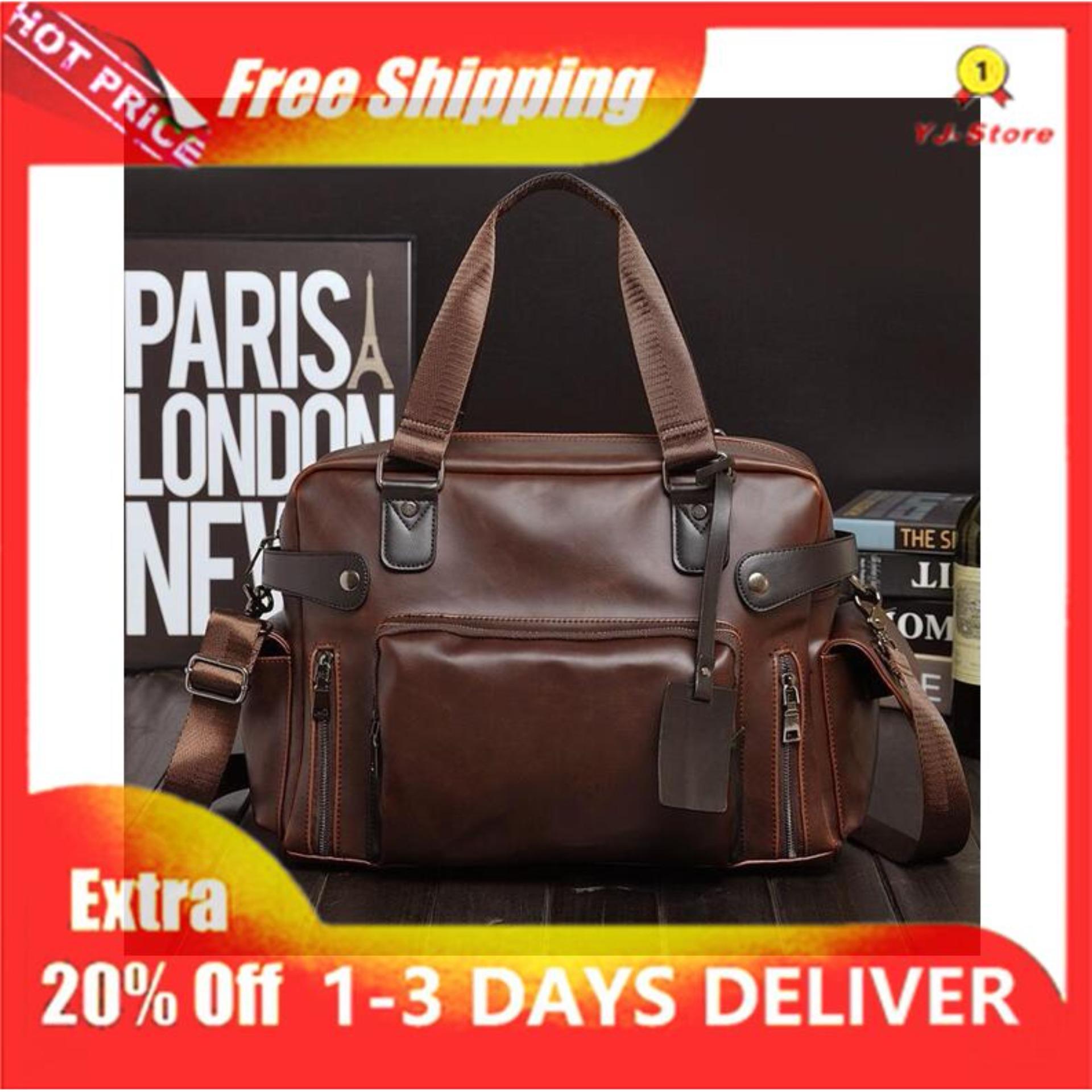 7005f6e665a [Ready Stock]Classic Korean horse leather high-capacity Men trendy bag mens  bag