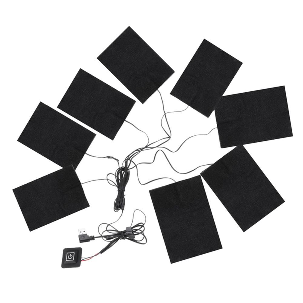 8-In-1 USB Electric Clothes Heated Pad Carbon Fiber Heating Pad Winter Adjustable Third Gear Mat Heater For Women Men Outdoor Hiking Skiing Giá Tốt Không Nên Bỏ Qua