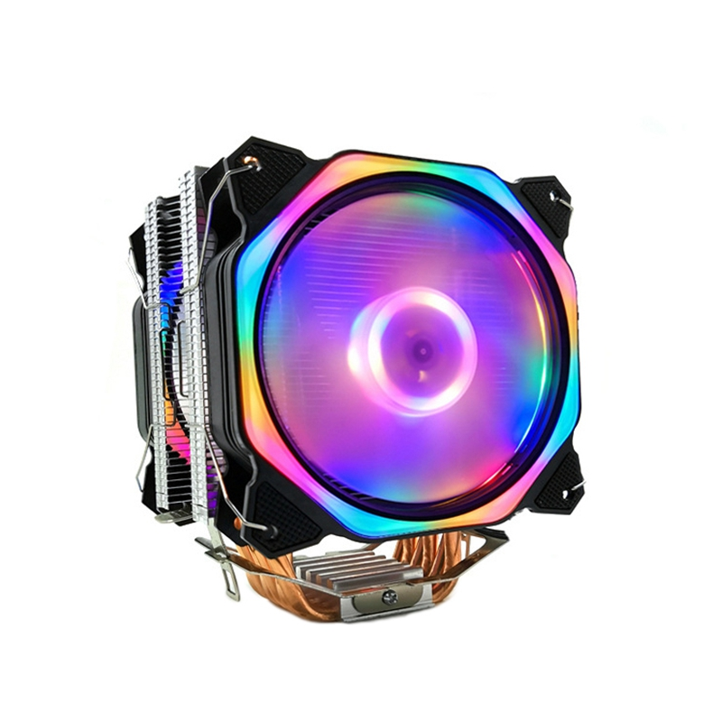 Giá 12cm CPU Cooler Dual LED Fan 6 Heat Pipe 4Pin CPU Fan Cpu Heatsink for Intel 775/1150/1155/1156/1366 for AMD All
