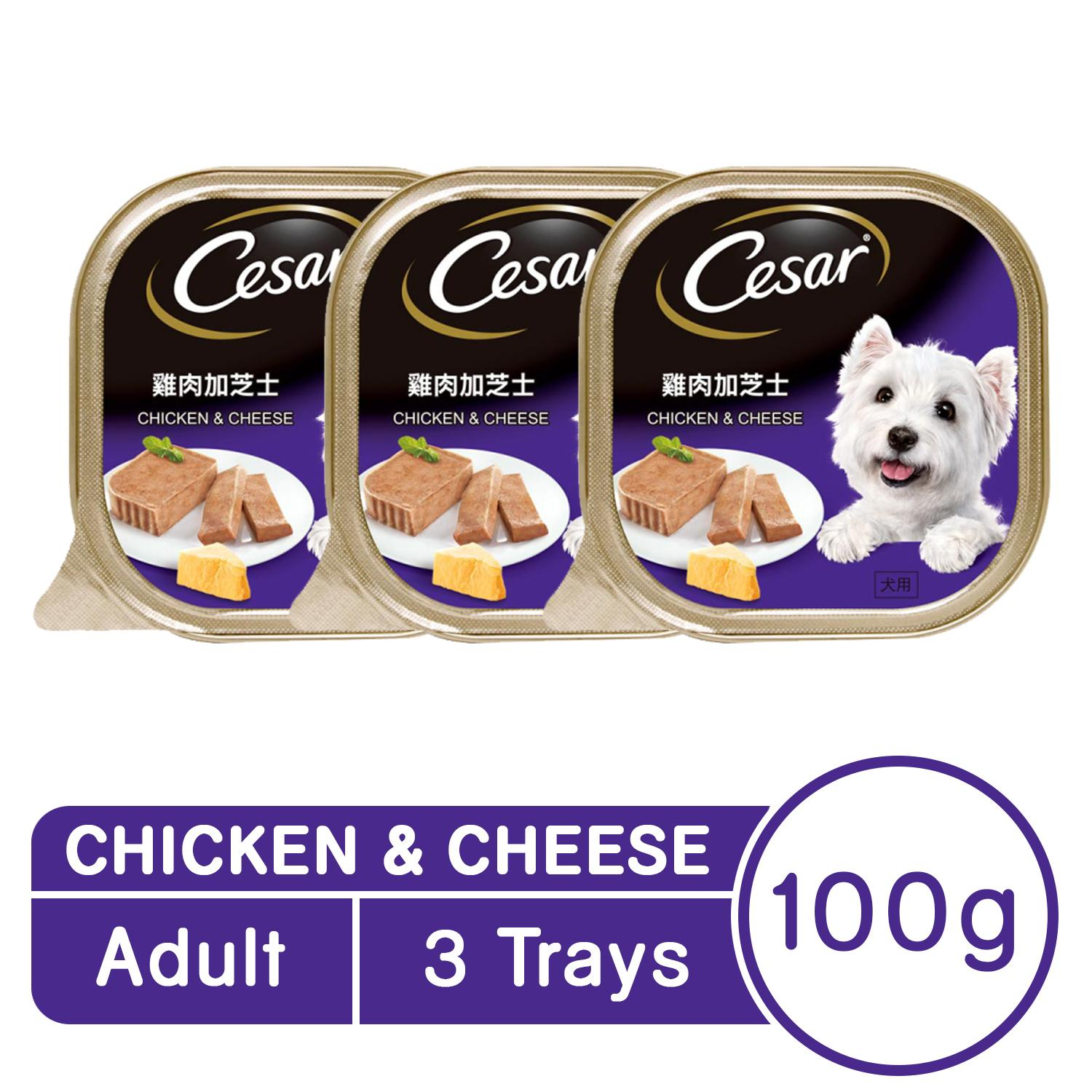 CESAR® Chicken & Cheese Wet Dog Food Pack of 3(100g)
