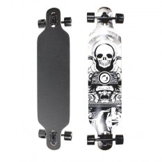 104 Cm Wood Deck White Skull Decal Longboard By Unicorn Selected.