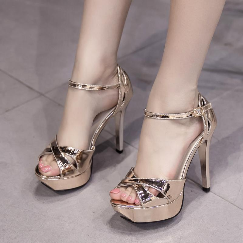 38dcc40115af 11 Cm High-heeled Sandals Waterproof Platform Thin Heeled Hollow out Open  Toe women Shoes