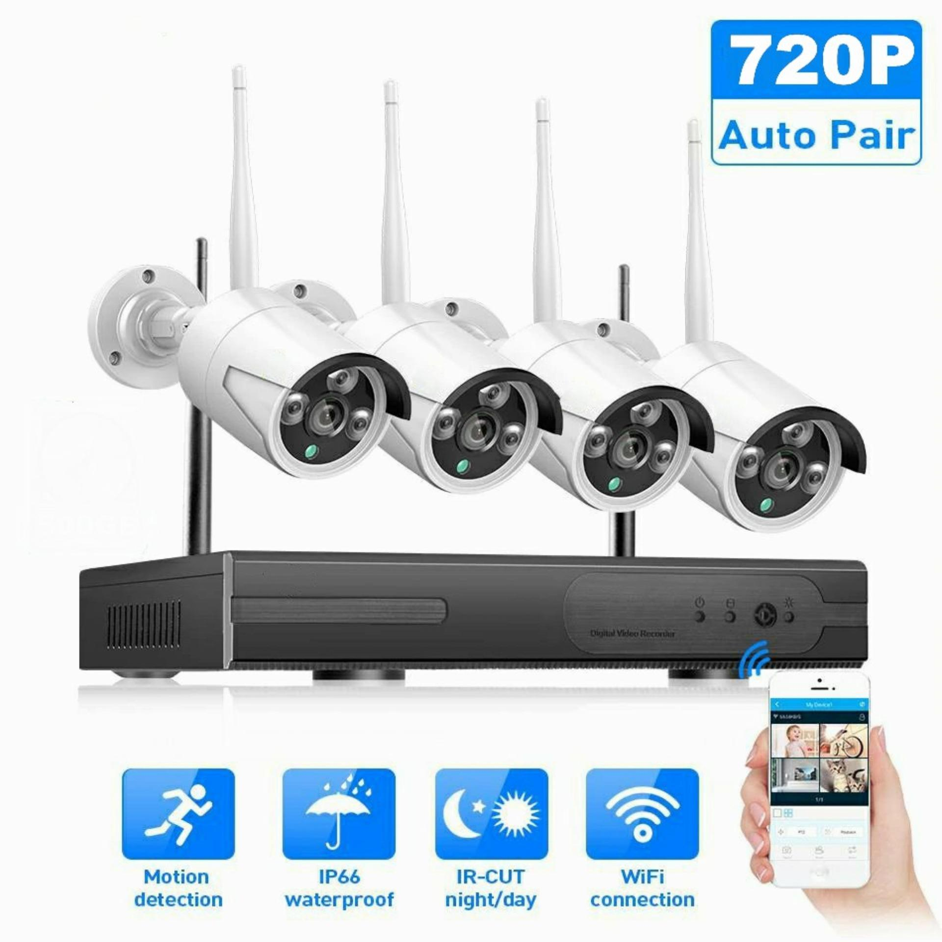 WIFI IP Bullet Camera 720P 4PCS NVR Wireless CCTV Security System Kit Infrared Cam Remote Viewing by IP Pro