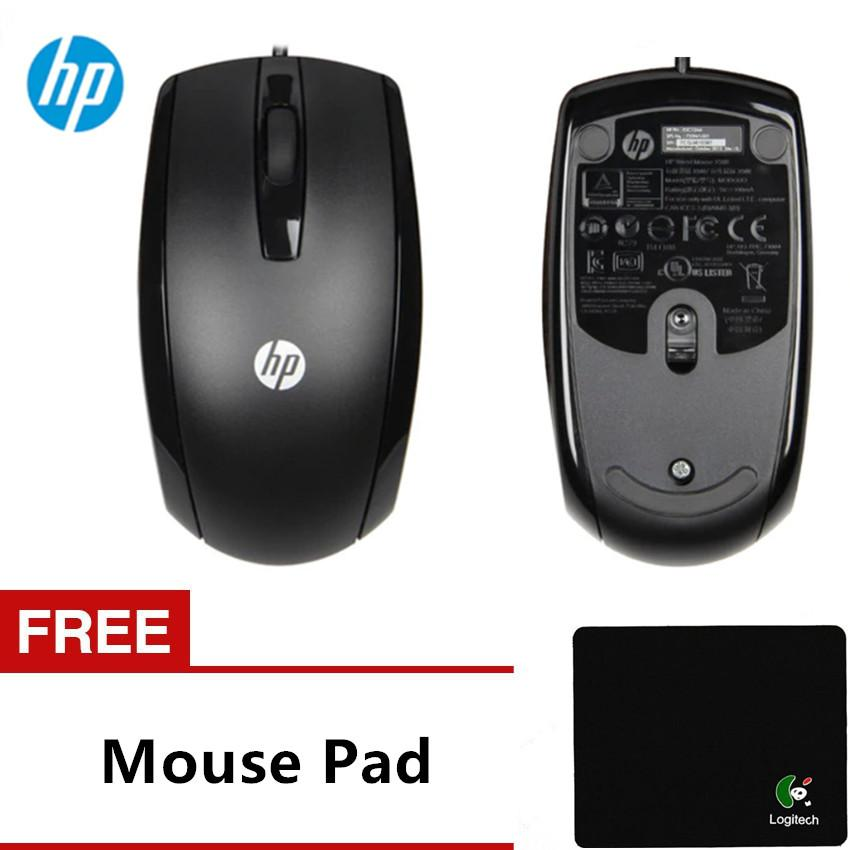 HP X500 Optical Wired USB Mouse Black 3 Buttons Windows XP Vista 7 8 10 Mac  USB Mice take one mouse pad Black