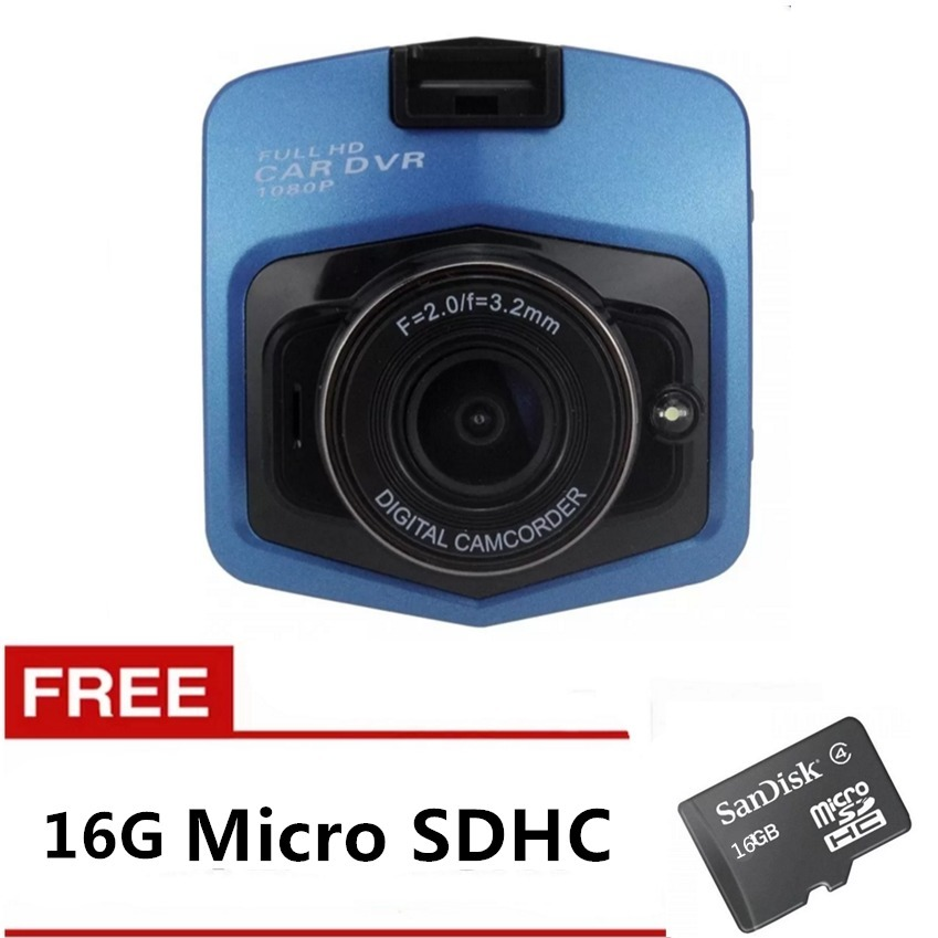 1080P 2.4inch Car DVR Camera Video Recorder (Blue) with FREE 16GB Memory Card