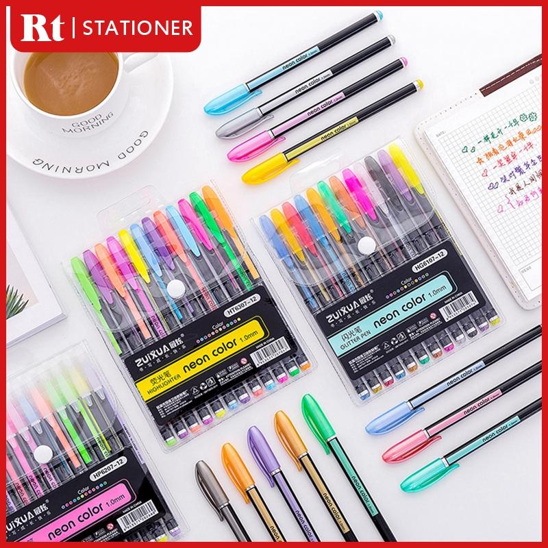 12in1 Color Ball Pen Set Neon Color Glitter Pen Blink Pen Pastel Pen Metal  Pen 1 0mm Ballpoint Pen Set Highlighter Pen Coloring Pen Marker School