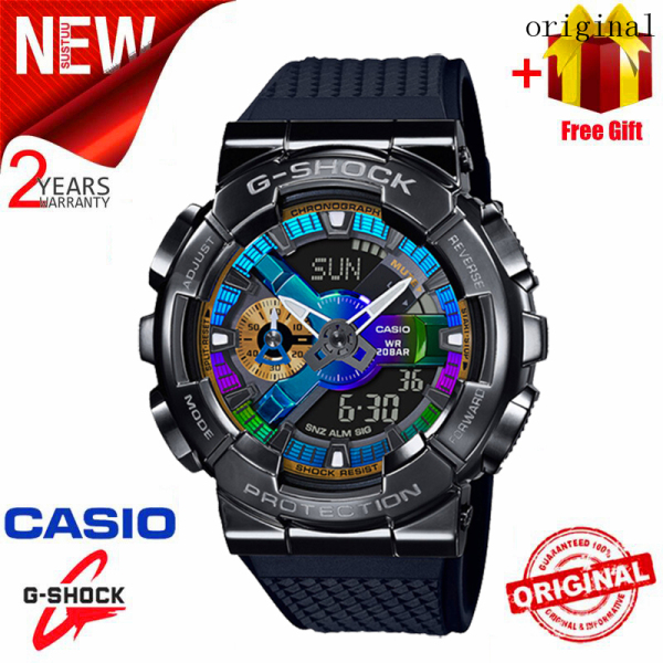 2021 Original Casio G Shock GM-110 Men Sport Watch Dual Time Display 200M Water Resistant Shockproof and Waterproof World Time LED Auto Light Sports Wrist Watches with 2 Year Warranty GM-110B-1APR (Ready Stock) Malaysia