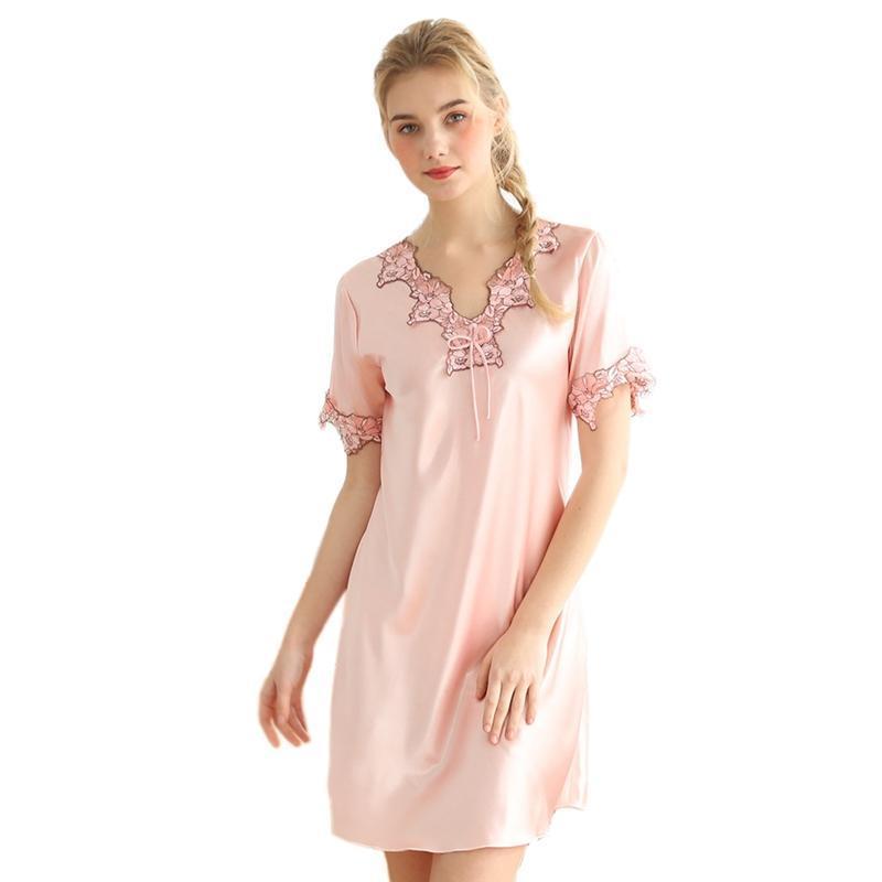 Nơi bán Women Night Dress Nightwear Summer Short Sleeve Sleep Shirt V-Neck Lace Night Dress Gown Fashion Elegant Short Kimono Nightgown