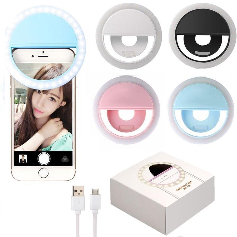 RK12 Universal Selfie Ring Flash LED Ring Fill Light Selflife Lamp Camera Photography Flashes for iPhone