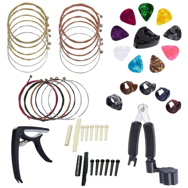34 PCS Guitar Accessories Kit Including Guitar Picks,Capo,Acoustic Guitar Strings,3 in 1String Winder,Bridge Pins,6 String Bone Bridge Saddle and Nut,Finger Picks