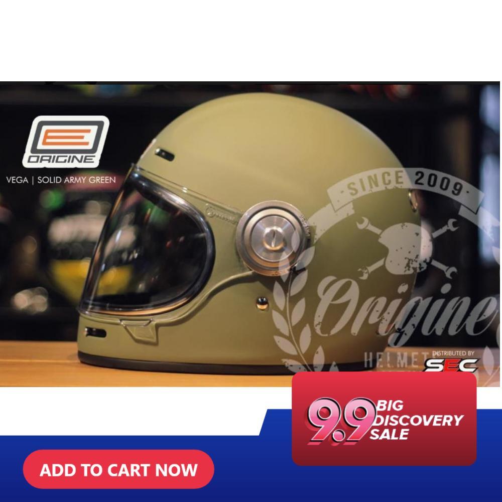 BORG 00109 ORIGINE Vega Solid Matte Green Full Face Helmet (2018 Collection)