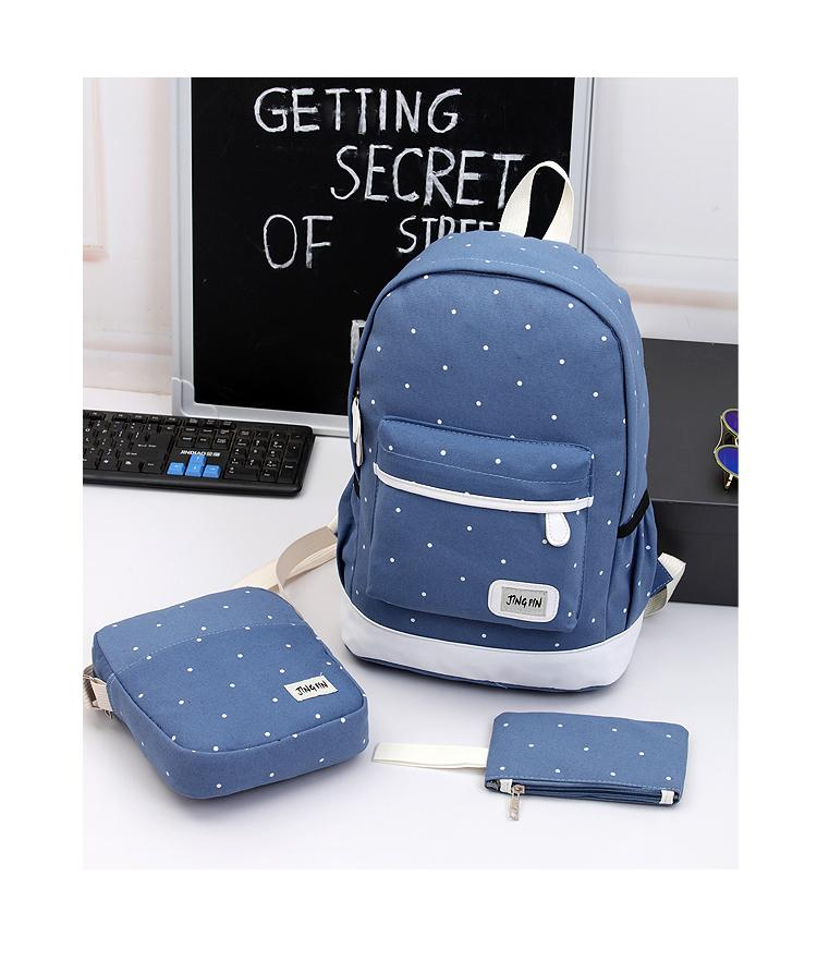 AMOG Korean style Han edition 3 pieces Set Backpack Canvas Women Backpack 3  in 1 backpack bags 3b782ae15fcd7