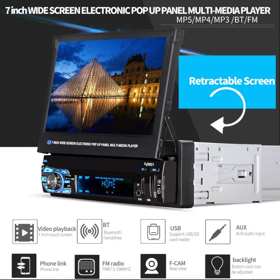 7 inches 1080 HD Popup Panel Touch Screen Stereo Music Radio Bluetooth Car  MP5 Player with Backup Camera