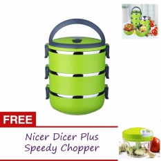 7a3c7d65b32 3 Layers Stainless Steel Lunch Box Thermal Insulated Handle With Free Nicer  Dicer Plus Speedy Chopper
