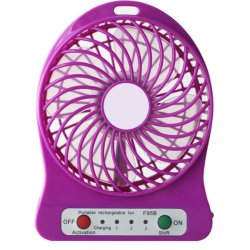 F002 Portable Rechargeable Fan with Battery (Violet)