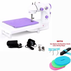 Mini Portable 2-Speed Sewing Machine (White-Lavander) with Expansion Board  with Anti Slip Slide Drying Clothes Nylon Clothesline Assorted Color