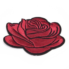 Rose Flower Sew On Patches Iron On Patch Cloth Embroidered Appliques Diy Craft Wine Red 8cm