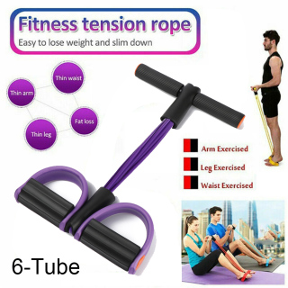 6-Tube Home Yoga Outdoor Pedal Exerciser Pull Rope Tension Bands Fitness thumbnail