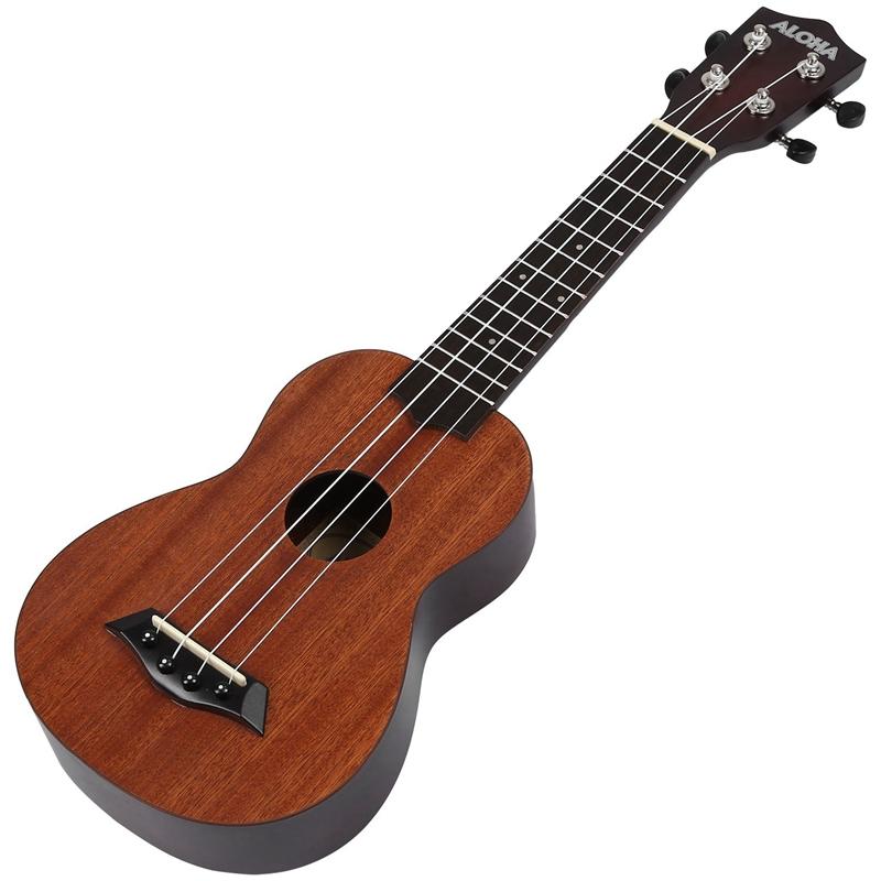 ALOHA 21 Inch Ukulele Beginner Soprano Ukulele Sapele Wood 4 Strings Guitar Mahogany Neck Delicate Tuning Peg