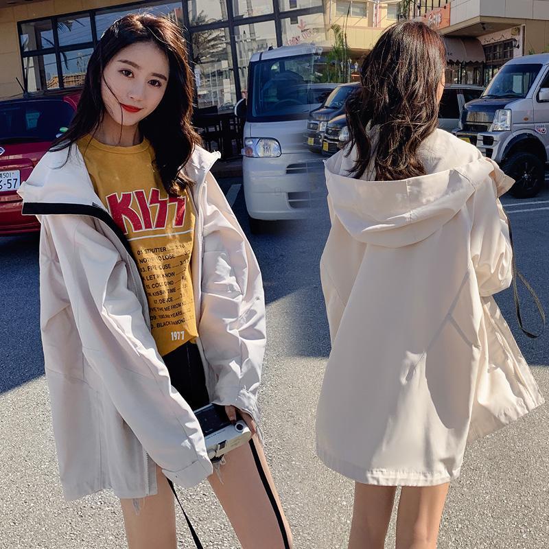 e053e026d98d INS Coat Schoolgirl 2019 Spring Korean Style Loose BF Harajuku Wind  Contrast Color Zipper Sun Protection