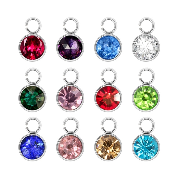 48 Piece Crystal Birthstone Pendant Band Ring DIY Jewelry Making Necklace Bracelet (12 Colors) Malaysia